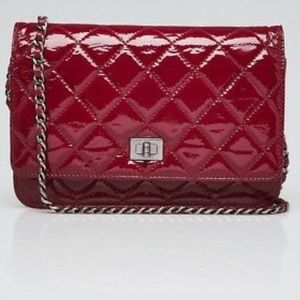Chanel dark red patent leather reissue WOC